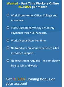 We are Hiring - Earn Rs.15000- Per month - Simple Copy Paste Jobs